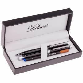 Набор Delucci: ручка шариковая, 1,0мм и ручка-роллер, 0,6мм, синие, корпус черный, подар. уп.