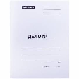 """Скоросшиватель OfficeSpace """"Дело"""", картон мелованный, 320г/м2, белый, пробитый, до 200л."""