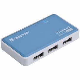 Разветвитель USB Defender Quadro Power USB2.0-хаб, 4 порта, блок питания, 2A output, черный