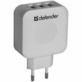 Сетевое зарядное устройство Defender UPA-30, 3хUSB, 2А output, серый
