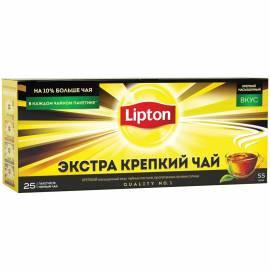 """Чай Lipton """"Экстра крепкий"""", черный, 25 пакетиков по 2,2г"""