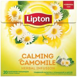 """Чай Lipton """"Calming Cаmomile"""", травяной с ромашкой и мятой, 20 пакетиков-пирамдок по 0,7г"""