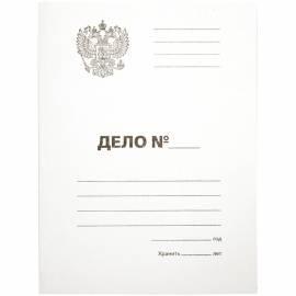 """Папка-обложка OfficeSpace """"Дело"""", Герб России, картон немелованный, 300г/м2, белый, до 200л."""