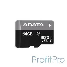 Micro SecureDigital 64Gb A-DATA AUSDX64GUICL10-RA1 MicroSDXC Class 10 UHS-I, SD adapter