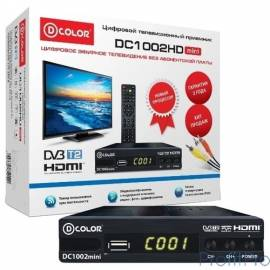 Ресивер DVB-T2 D-Color DC1002HD mini черный