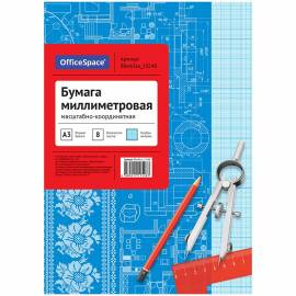 Бумага масштабно-координатная OfficeSpace, А3 8л., голубая, на скрепке