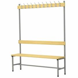 Вешалка односторонняя со скамьей на металлокаркасе Надежда П-091Д/1,5, сосна, 1818*1480*370