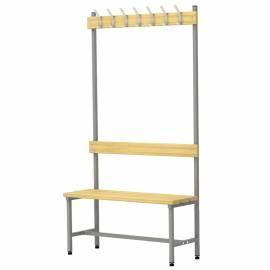 Вешалка односторонняя со скамьей на металлокаркасе Надежда П-091Д/1,0, сосна, 1818*980*370