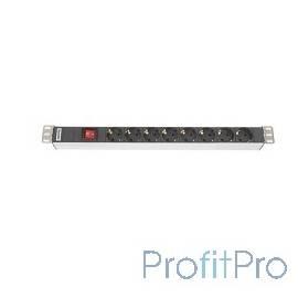 """Hyperline SHT19-8SH-S-IEC Блок роз. 19"""", гориз., 8 роз., 10A,выключатель,разъем сзади, шнур 3м в ком"""