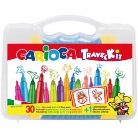 Набор для рисования Carioca 30 фломастеров + раскраска, пластиковая коробка с ручкой