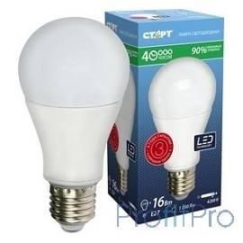 СТАРТ (4670012295075) Светодиодная лампа. Форма - груша. Холодный белый свет. LEDGLSE27 16W42