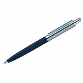 "Ручка шариковая Berlingo ""Silver Arrow"" синяя, 1,0мм, корпус синий/хром, кнопочн., пластик. футляр"