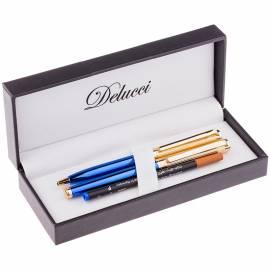 Набор Delucci: ручка шариковая, 1,0мм и ручка-роллер, 0,6мм, синие, корпус синий/золото,подар. уп.