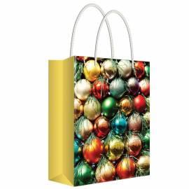 """Пакет подарочный новогодний 13,5*18*6см Русский дизайн """"Игрушки на елку"""", ламинированный"""