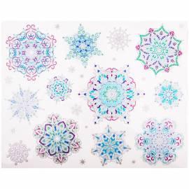 """Новогоднее оконное украшение """"Серебряные снежинки раскрашенные"""" 30*38см"""