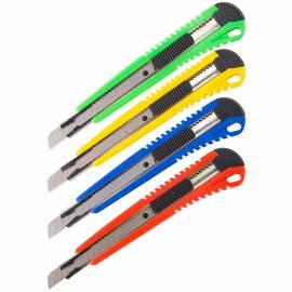 Нож канцелярский 9мм OfficeSpace, усиленный, с фиксатором, металл. направляющие, ассорти, европодвес