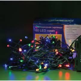 Электрогирлянда уличная светодиодная 60 ламп, многоцветный, 8 функций, на батарейках, 5,9м + 0,5м
