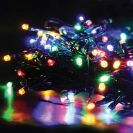 Электрогирлянда уличная светодиодная 120 ламп, многоцветный, 8 функций, 11,9м + 5м