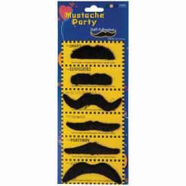 Усы маскарадные черные приставные, набор из 6шт.
