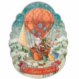 """Новогоднее оконное украшение """"Доставка подарков на воздушном шаре"""", картон, 29*37см"""