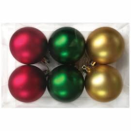 Набор пластиковых шаров 6шт, 60мм, фуксия/зеленый /золото, пластиковая упаковка