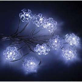 Электрогирлянда светодиодная на батарейках Снежинки, 20 ламп, белый, 2м