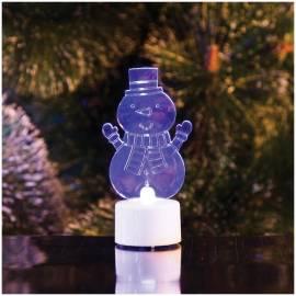 """Фигура светодиодная на батарейках """"Снеговик с шарфом 2D"""" на подставке, 10см, RGB"""