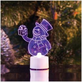 """Фигура светодиодная на батарейках """"Снеговик с подарком 2D"""" на подставке, 10см, RGB"""