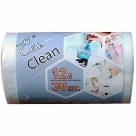 "Мешки для мусора 12л КБ ""Ecoclean"" ПНД, 32*50см, 6мкм, 30шт., белые, в рулоне"