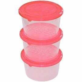 """Набор контейнеров для СВЧ и хранения продуктов PlastTeam """"Pattern"""", круглые, 3шт., 0,8л"""
