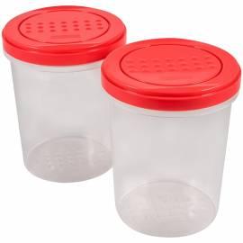"""Набор банок для СВЧ и хранения продуктов PlastTeam """"Pattern"""", с закручивающейся крышкой, 2шт., 1л"""