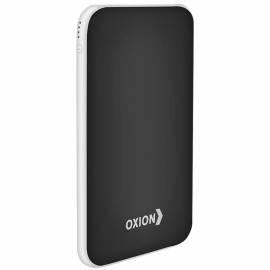 Внешний аккумулятор Oxion PowerBank UltraThin 6000mAh, покр. soft-touch, индикатор, черный