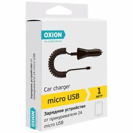 Зарядное устройство автомобильное Oxion AC105, micro USB, 2А, 1м, витой кабель, черный