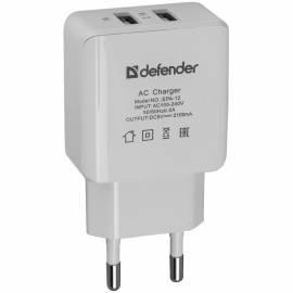 Зарядное устройство сетевое Defender EPA-12, 2хUSB, 2А output, серый