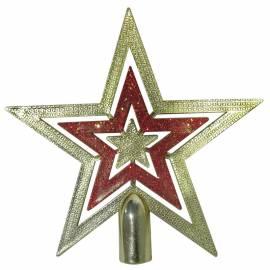 """Верхушка пластиковая """"Звезда"""" 15см, золотой/красный"""