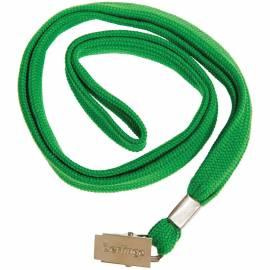 Шнурок для бейджей Berlingo, 45см, металлический клип, зеленый