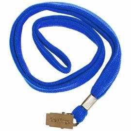 Шнурок для бейджей Berlingo, 45см, металлический клип, синий