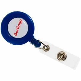 Держатель-рулетка для бейджей Berlingo, 70см, петелька, клип, синий, блистер