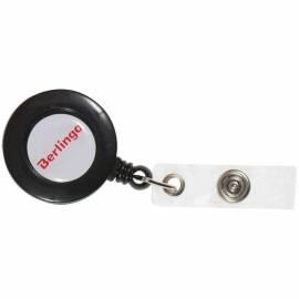 Держатель-рулетка для бейджей Berlingo, 70см, петелька, клип, черный, блистер