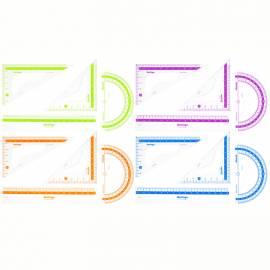 """Набор чертежный малый Berlingo """"Color Zone"""" (треуг. 2шт, линейка 15см, транспортир), прозрачный"""
