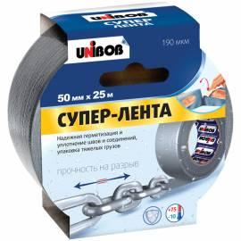Клейкая СУПЕР-лента армированная Unibob, 50мм*25м, серая, инд.упаковка