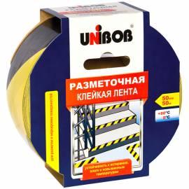 Клейкая лента разметочная Unibob, 50мм*50м, желто-черная, инд.упаковка