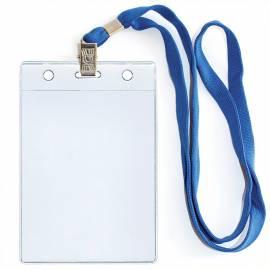Бейдж вертикальный ДПС, 87*120мм (размер вставки 81*102мм), с клипсой, на синей ленте