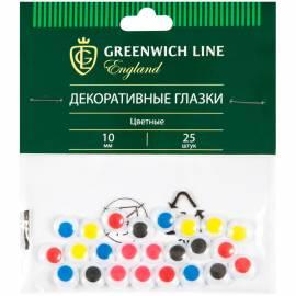 """Материал декоративный Greenwich Line """"Глазки"""", цветные, 10мм, 25шт."""