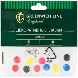 """Материал декоративный Greenwich Line """"Глазки"""", цветные, 15мм, 10шт."""