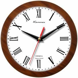 """Часы настенные ход плавный, Камелия """"Римские"""", круглые, 29*29*3,5, коричневая рамка"""