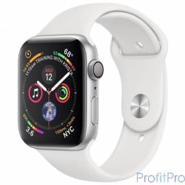 Apple Watch Series 4, 40 мм, корпус из алюминия серебристого цвета, спортивный ремешок белого цвета [MU642RU/A]