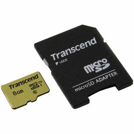 Карта памяти Transcend MicroSDHC 8Gb, Class 10 UHS-I U-1, скорость чтения 95Мб/сек (с адаптером SD)