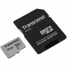 Карта памяти Transcend MicroSDHC 16Gb, Class 10 UHS-I U-1, скорость чтения 95Мб/сек (с адаптером SD)