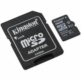 Карта памяти Kingston MicroSDHC 16GB UHS-I Canvas, Class 10 скорость чтения 80Мб/сек(с адаптером SD)